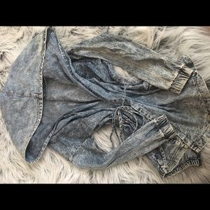 Over-sized hooded jean jacket